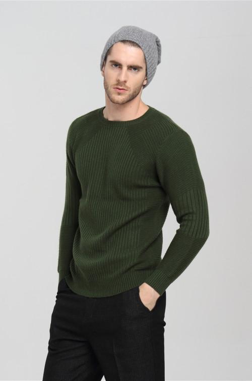 pull en cachemire tricoté à manches longues pour hommes