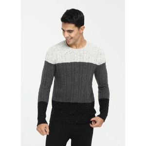 Wholesale men's long sleeve crew neck constrast colour cashmere sweater China manufacturer