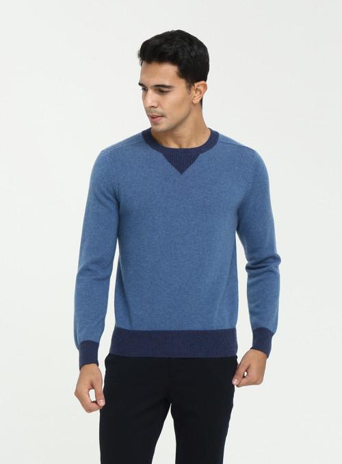 suéter de cachemir de color de contraste con cuello redondo para hombre