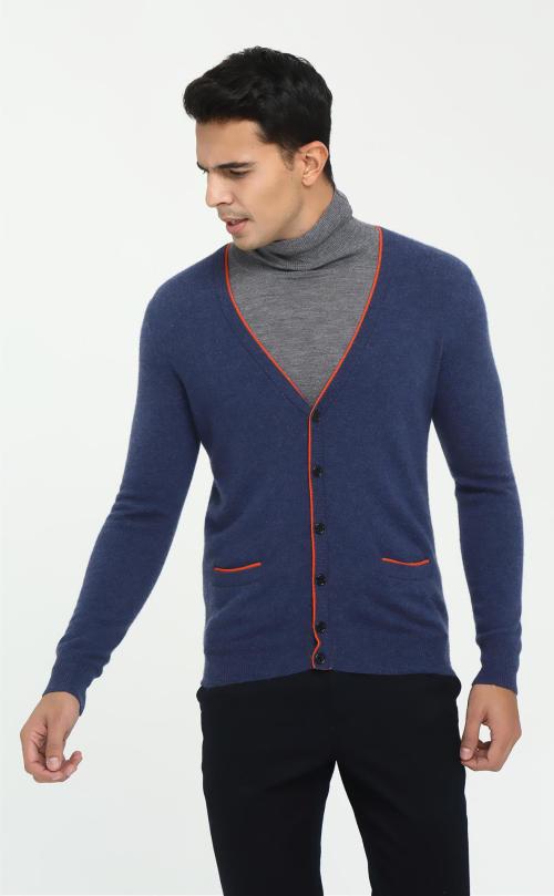 Cárdigan 100% cachemir para hombre con tapeta de tira para otoño invierno