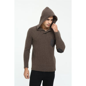 OEM factory high end men's long sleeve crew neck cashmere hoodie for Fall Winter China manufacturer