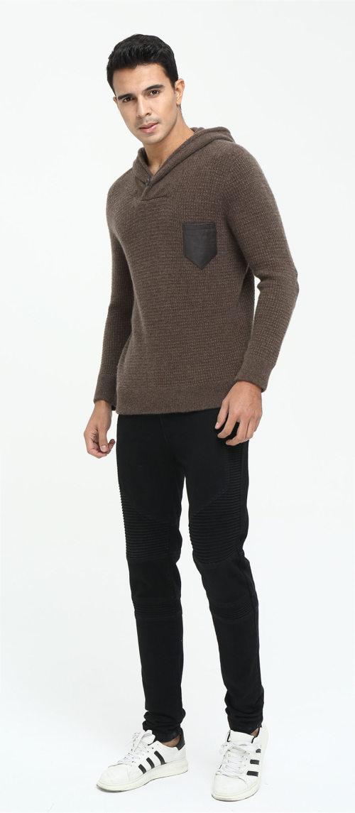 Sweat à capuche en cachemire à manches longues pour hommes pour l'automne-hiver