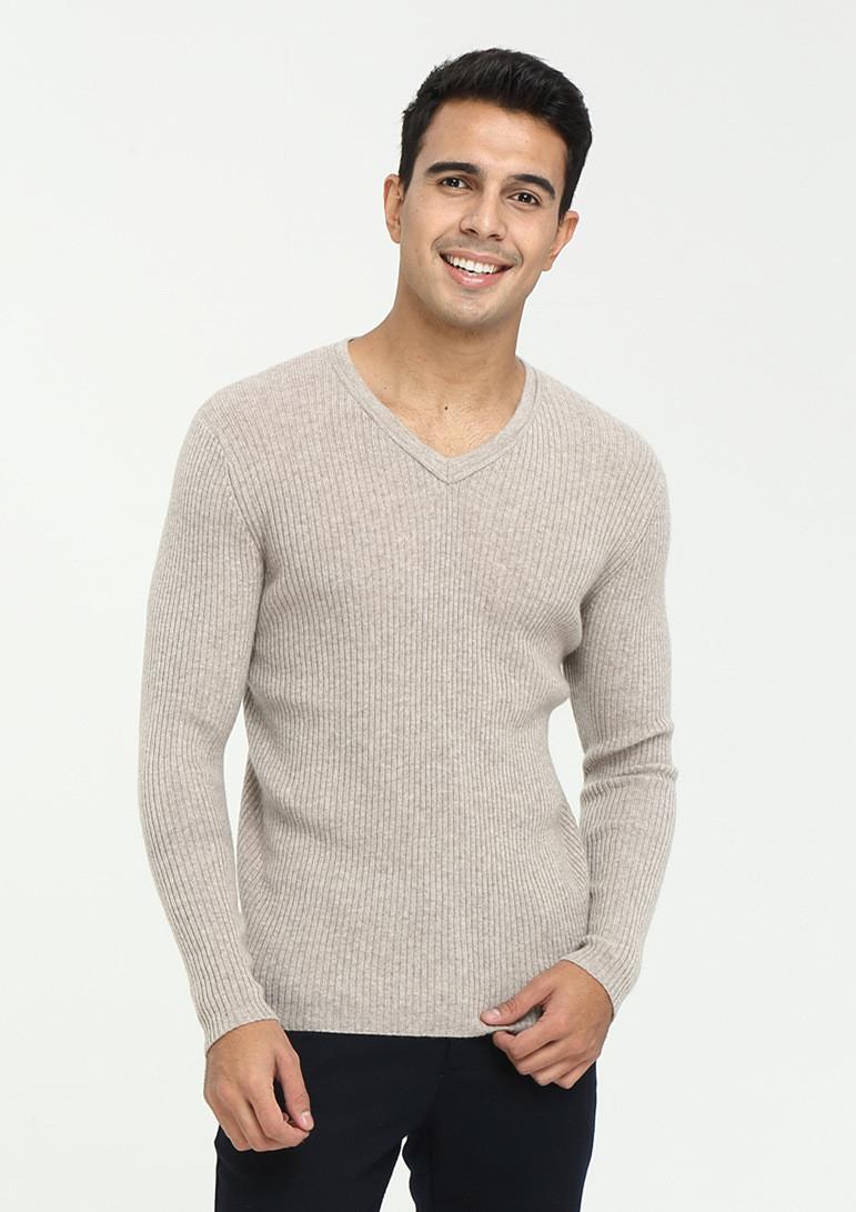 Suéter con cuello en V para hombre Otoño Invierno Pure Cashmere