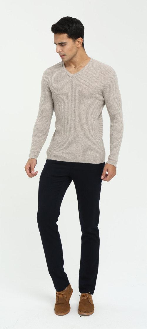 Jersey de cachemir con cuello en v y manga larga para hombre para otoño invierno
