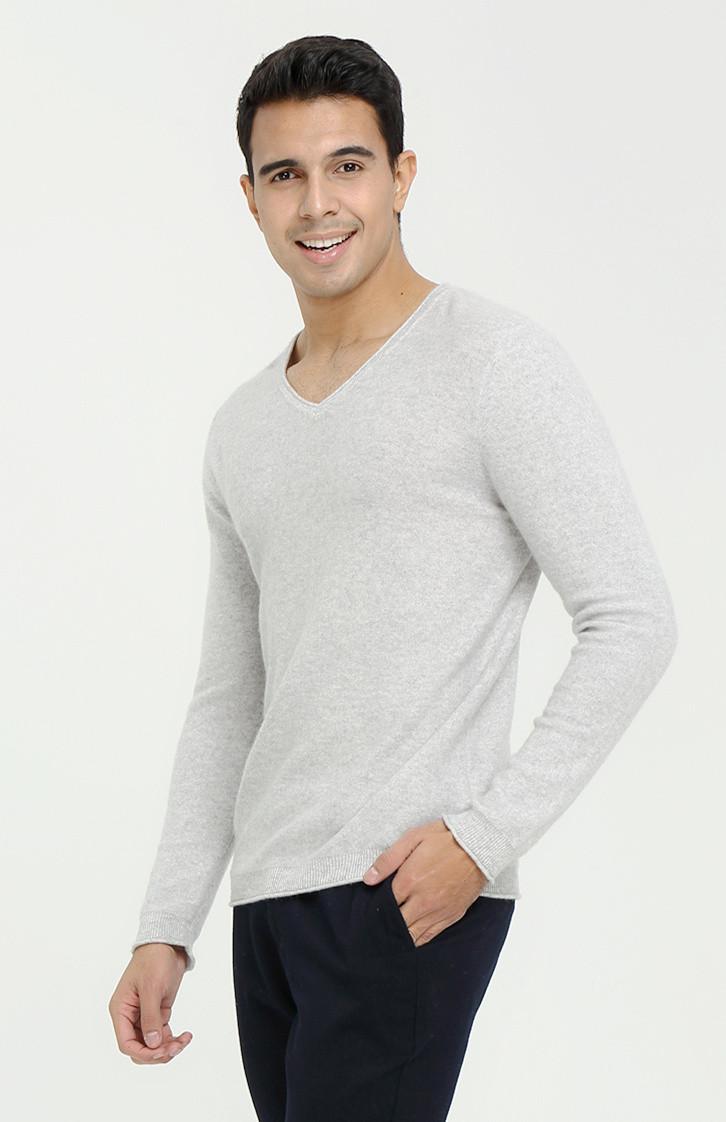 suéter de pura cachemira con cuello en v y manga larga para hombre