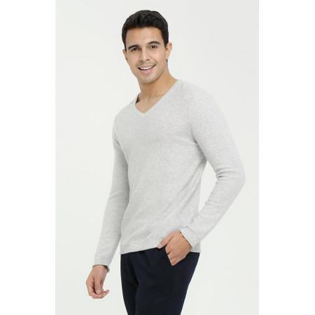 Herren Langarm Pullover aus reinem Kaschmir mit V-Ausschnitt und schlichtem Muster