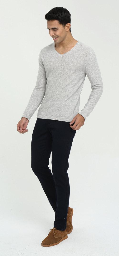 suéter de pura cachemira con cuello en v y manga larga para hombre, estampado liso
