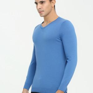 suéter de cachemira con cuello en v y manga larga para hombre para el otoño invierno