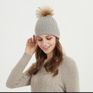 gorro de mujer de cachemir de lana de tamaño mediano con pompón