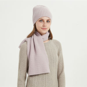 Wholesale women's wool cashmere rib with stones hat and scarf suit China factory