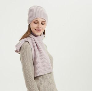 costilla de cachemir de lana para mujer con sombrero de piedras y bufanda