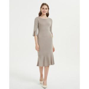 langes Kleid aus reinem Kaschmir für Frauen mit natürlicher Farbe