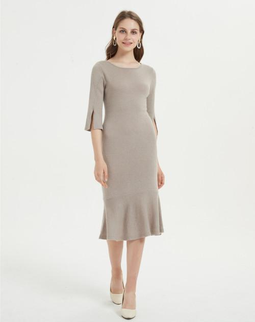 vestido largo de mujer de cachemir puro con color natural