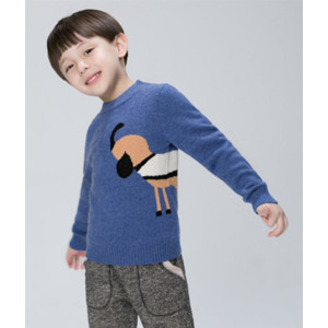 wholesale boy cashmere horse pattern blue sweater with round neck china factory