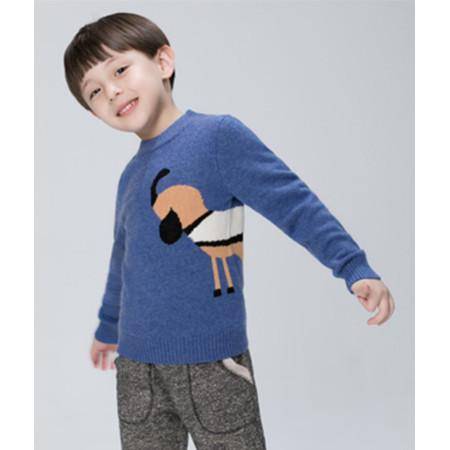 blauer Pullover mit Kaschmirpferdemuster für Jungen mit Rundhalsausschnitt
