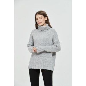OEM factory fashionable ladies turtleneck fancy yarn mohair pullover knitwear from Chinese supplier