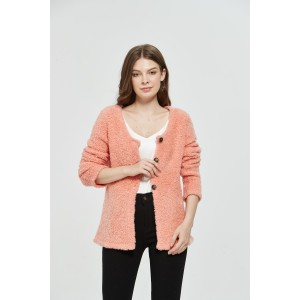 New design high quality ladies extrafine merino wool cardigan sweater with fancy yarn in cheap price