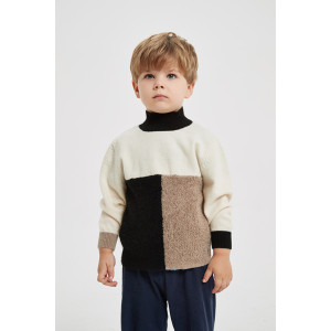 Chinese wholesale high quality boy's turtleneck pure cashmere pullover sweater in multi colors