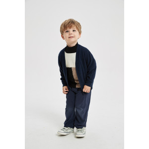 Private label boy's pure cashmere cardigan sweater with pockets in high quality from Chinese factory
