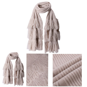 Wholesale Latest Fashion Rib Knit Solid Color Women Cashmere Scarf with Fringes From Chinese Factory