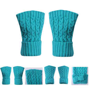 Wholesale High quality Peacock blue cashmere mitten for fall winter china supplier