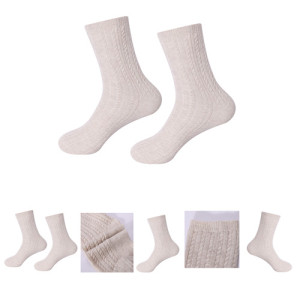 Wholesale Women's Solid Color With Cable Pure Cashmere floor socks in small MOQ and factory price