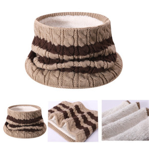 Wholesale coffee Pure Cashmere cable strip knitted bib in small MOQ