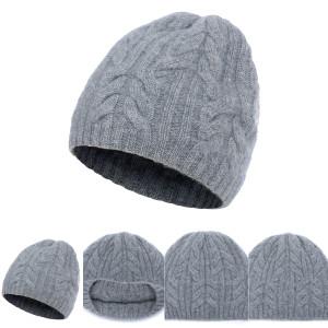 Wholesale Unisex Rib Knit Pure Cashmere Beanie