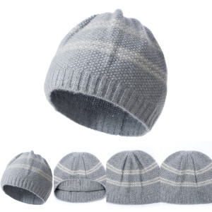 Wholesale Unisex Rib Cashmere Beanie with Stripes