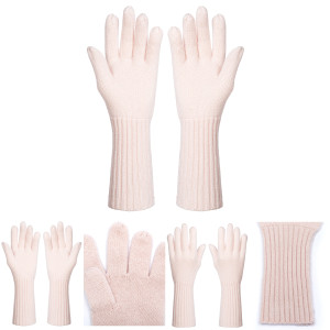 Wholesale Latest Fashion High Quality Pink Cashmere Mittens in Middle Size