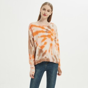Wholesale custom design high quality ladies tie dye wool cashmere pullover from Chinese factory