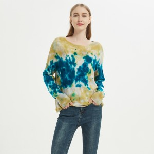Custom design high quality ladies round neck tie dye wool cashmere pullover knitwear for fall winter