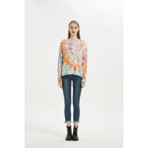 Wholesale New Arrival Women Tie Dye Wool Cashmere Pullover ODM