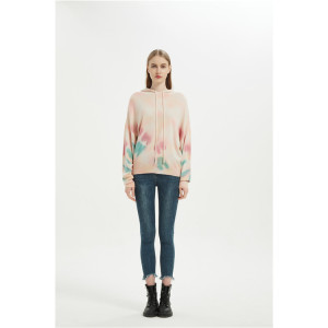 High quality wholesale women tie dye printed wool cashmere hoodie jumper
