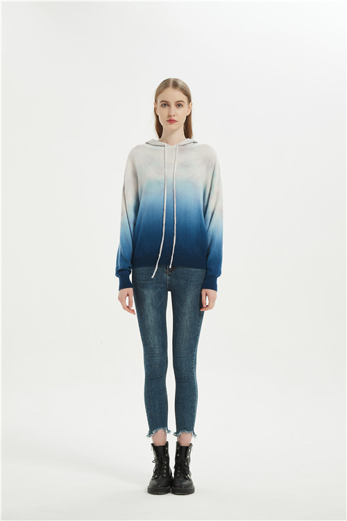 women dip dye printed wool cashmere hoodie jumper from china factory