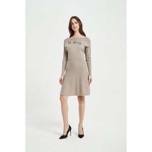 OEM New Arrival Ladies Pure Cashmere Rope Embroidery Dress From Chinese Vendor For Spring Summer