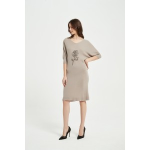 Wholesale New Arrival Ladies Pure Cashmere Rope Embroidery Dress From China for Spring Summer