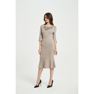 OEM New Arrival Ladies Pure Cashmere Rope Embroidery Dress From Chinese Supplier For Spring Summer