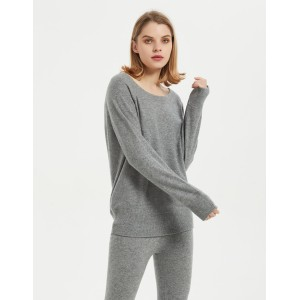 Wholesale high quality ladies cashmere round neck pullover knitwear nightwear from Chinese factory
