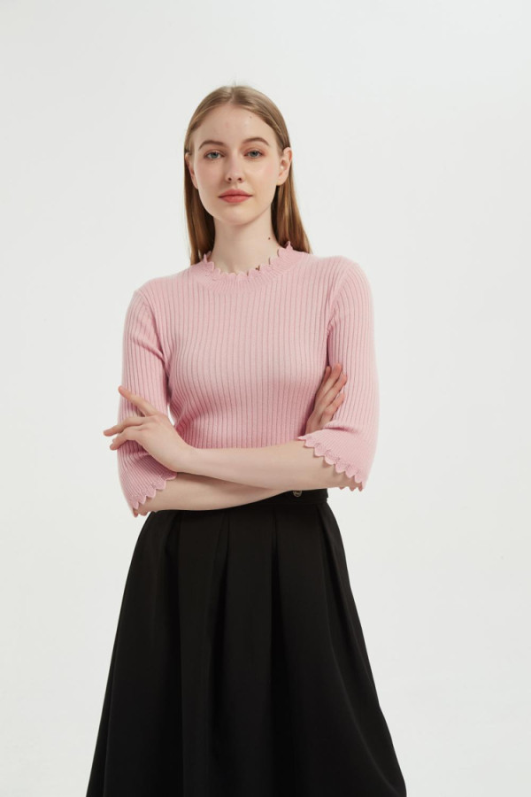 New Arrival Anti-Bacterial Silk Cashmere Women Sweater With Fashion Details From Chinese Supplier