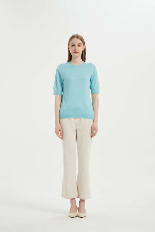2021 New Design Ladies Anti-Bacterial Silk Cashmere T-shirt From Chinese Supplier