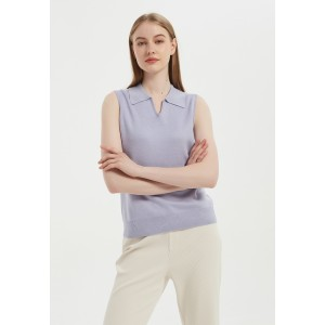New Arrival Wholesale Anti-Bacterial Silk Cashmere Women's  Polo Neck T shirt Top From China