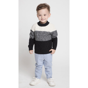 ODM factory kid special strip colors cashmere cable knit pullover sweater China vendor
