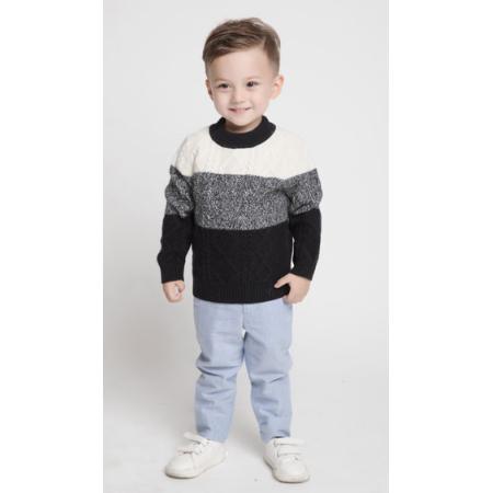 Kinder spezielle Streifenfarben Kaschmir Zopfmuster Pullover