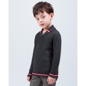 OEM cashmere bathrobe collar sweater with strip for boy China vendor