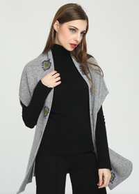 nouveau design femmes 100% pur cachemire cardigan avec broderie à la main