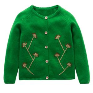 Cárdigan de pura cachemira con bordado infantil para otoño invierno