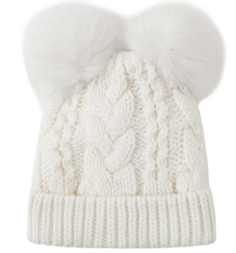 Bonnet en cachemire de couleur unie à oreilles de pompon de Gril pour l'automne hiver