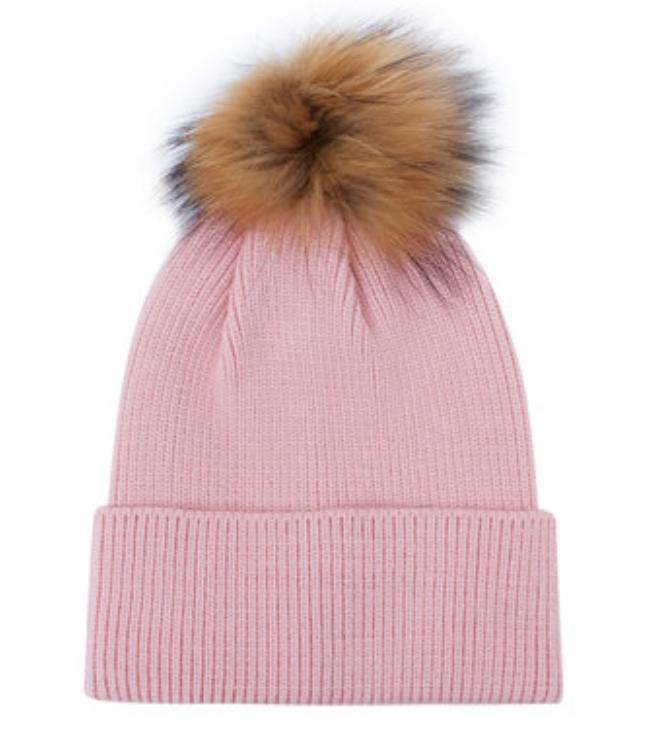 sombrero de cachemir niña con globo de piel