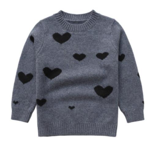 pull en cachemire gris enfant avec motif coeur et col rond